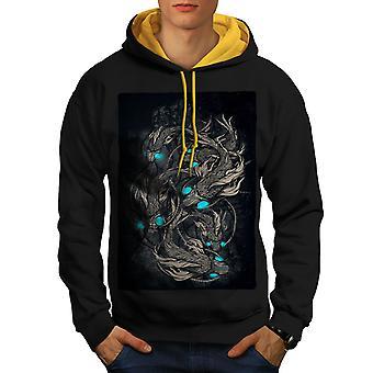 Mystic Scary Cool Fashion Men Black (Gold Hood)Contrast Hoodie | Wellcoda