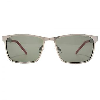 Polaroid Contemporary Metal Square Sunglasses In Semi Matte Dark Ruthenium Polarised