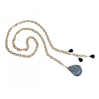 Ladies - necklace - Lariat - gold plated - blue - black - agate drops - 100 cm