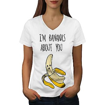 Bananas About You Women WhiteV-Neck T-shirt | Wellcoda
