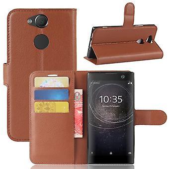 Tasche Wallet Premium Braun für Sony Xperia XA2 Schutz Hülle Case Cover Etui Neu