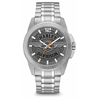 Harley Davidson Logo Print Dial Silver Stainless Steel Case And Bracelet 76A157 Watch