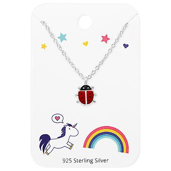 Ladybug Necklace On Unicorns And Rainbow Card - 925 Sterling Silver Sets - W35928X