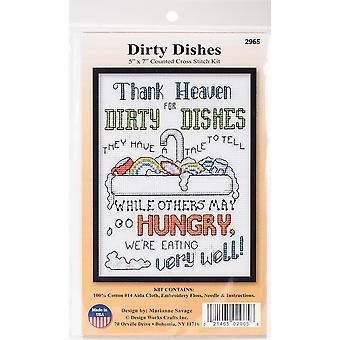 Dirty Dishes Counted Cross Stitch Kit-5