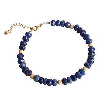Gemshine - damer - armbånd - gullbelagt blå - lapis lazuli - fasettert-