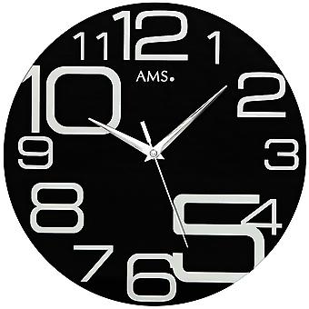AMS 9461 wall clock quartz creeping second mineral crystal black printed