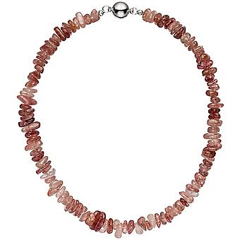 Necklace chain quartz 44 cm Strawberry quartz quartz necklace chain