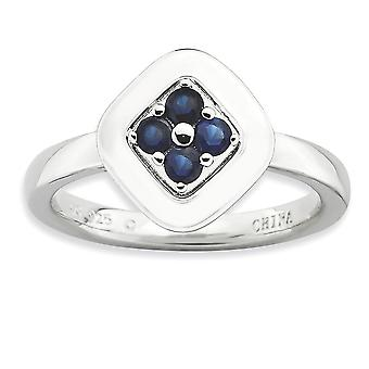 2.25mm Sterling Silver Moveable Prong set Rhodium-plated Stackable Expressions Polished Created Sapphire Ring - Ring Siz