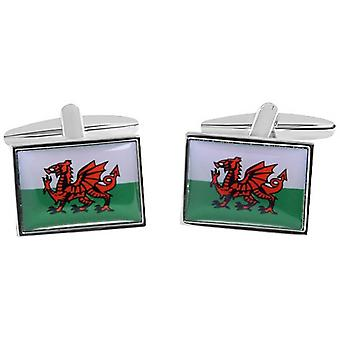 Zennor Welsh Flag Cufflinks - Green/White/Red