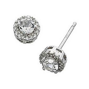 Elements Gold Topaz Stone with Diamond Edge Stud Earrings - Clear/White Gold
