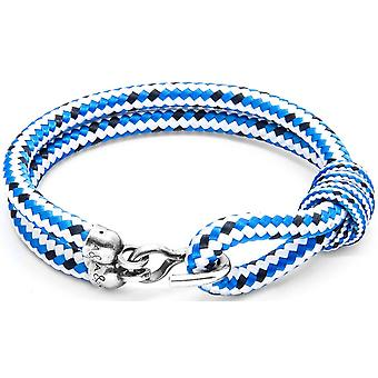 Anchor and Crew Great Yarmouth Silver and Rope Bracelet - Blue Dash