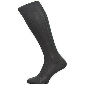 Pantherella Asberley Rib Over the Calf Silk Socks - Black