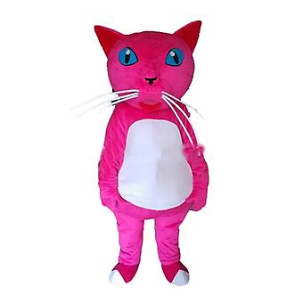 mascot SPOTSOUND pink and white cat with blue eyes