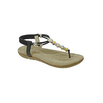 JLH708 Hêtre Mesdames perlé animée plage de mode confortable Thong sandales