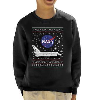 Logo de la NASA y traslado Navidad tejer sudadera patrón infantil