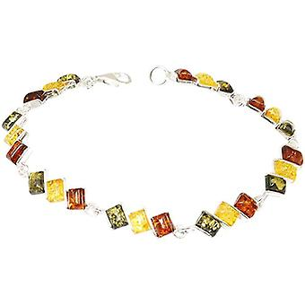 The Olivia Collection Sterling Silver Tri-Color Amber Link Bracelet
