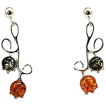 Toc Sterling Silver Elegant Amber Swirl Drop Earrings