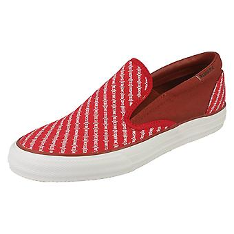 Mens Converse Slip On Shoes Skid Grip - Red Textile - UK Size 6.5 - EU Size 39.5 - US Size 6.5