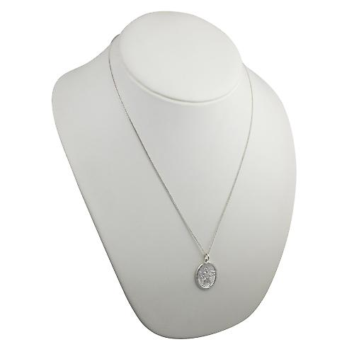 Silver 30x21mm oval diamond cut edge St Christopher Pendant with a curb chain