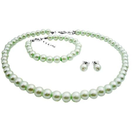Customize Flower Girl Jewelry Gorgeous Lite Green Pearls Jewelry