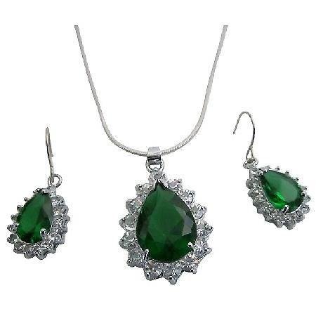 Celebrity Inspired Pear Shape Silver Plated Sparkling Jewelry Set