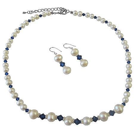 Freshwater Pearl Corn Shaped Dark Sapphire Crystal Bali Silver Jewelry