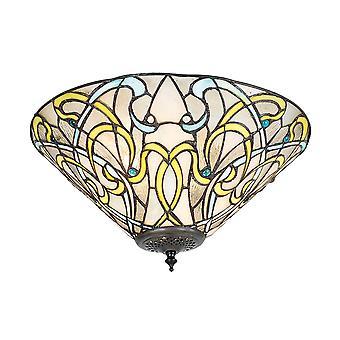 Dauphine moyenne Style Tiffany lumière deux Flush plafonnier - Interiors 1900 70700