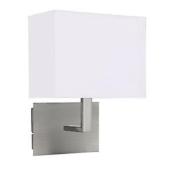 Wand leichte Satin-Silber - weißen rechteckigen Schatten - Searchlight 5519SS