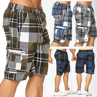 Men's Shorts Plaid Bermuda Cargo Pattern Capri Vintage Checked Trousers Casual
