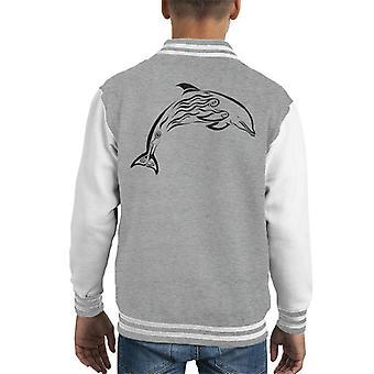Dolfijn Tribal Tattoo Kid's Varsity Jacket
