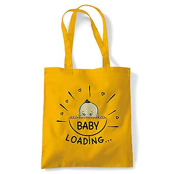 Baby Loading Funny Mother to Be Tote | Reusable Shopping Cotton Canvas Long Handled Natural Shopper Eco-Friendly Fashion | Gym Book Bag Birthday Present Gift Him Her | Multiple Colours Available