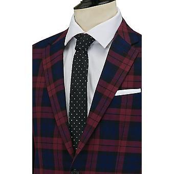 Dobell Mens Burgundy Tartan Suit Jacket Tailored Fit