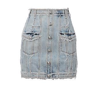 Balmain Blue Denim Skirt