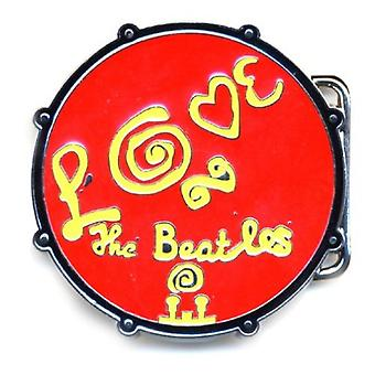 Le logo de Beatles Belt Buckle Love Drum Band rouge métal officiel neuf