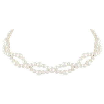 Eternal Collection Aristocrat White South Sea Shell Pearl Silver Tone Choker Necklace