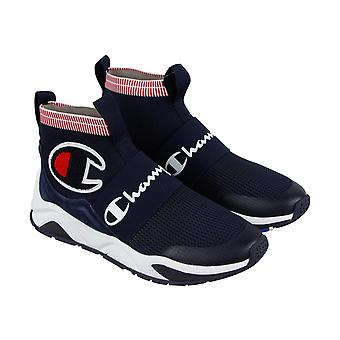 Champion Rally Pro Mens Blue Textile Athletic Slip On Training Shoes