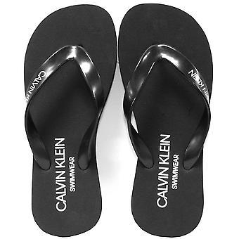 Calvin Klein Classic Logo Flip Flops, Black