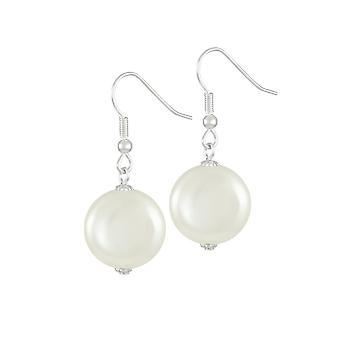 Wieczne kolekcji Bloomsbury biały powłoki monety perłowy srebrny odcień Drop kolczyki Kolczyki