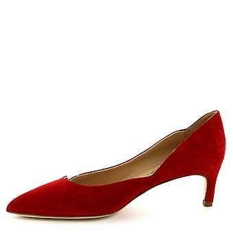 Leonardo Shoes Women's handmade low heels pumps shoes in red suede leather