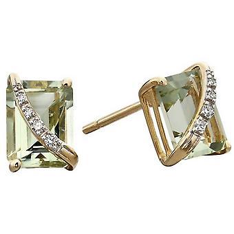 Elements Gold Diamond Wrap Stud Earrings - Green/Gold/Silver
