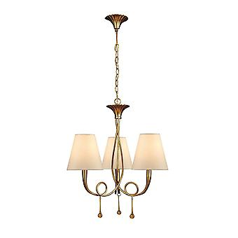 Mantra Paola Pendant 3 Light E14, Gold Painted With Cream Shades & Amber Glass Droplets