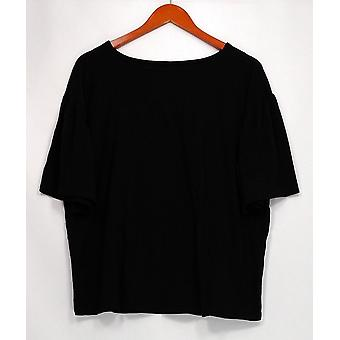 Iedereen vrouwen ' s sleepshirt Loungewear Cozy brei korte mouw zwart A310049