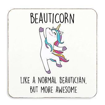 Beauticorn Awesome Beautician Unicorn Coaster Cork Back