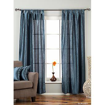 Navy Blue Tab Top Textured Curtain / Drape / Panel - 84