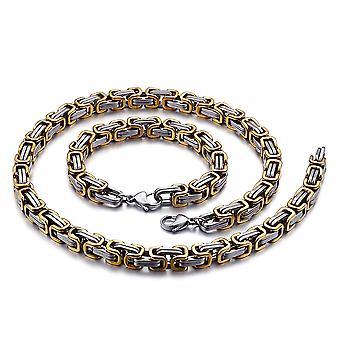 5 mm Königskette Armband Herrenkette Männer Kette Halskette, 55 cm Silber / Gold Edelstahl Ketten