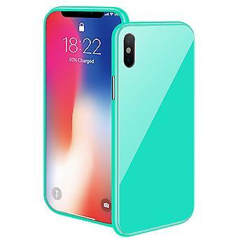 Magnetische case met gekleurd achterglas voor de iPhone XR – groen