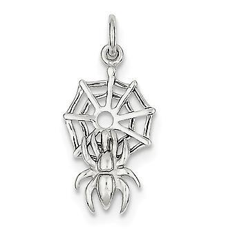 925 Sterling Silber solide poliert Spinne Web Charme