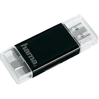 USB smartphone/table card reader Hama USB-2.0-SD/microSD-Kartenleser Schwarz Black USB 2.0, Micro USB 2.0