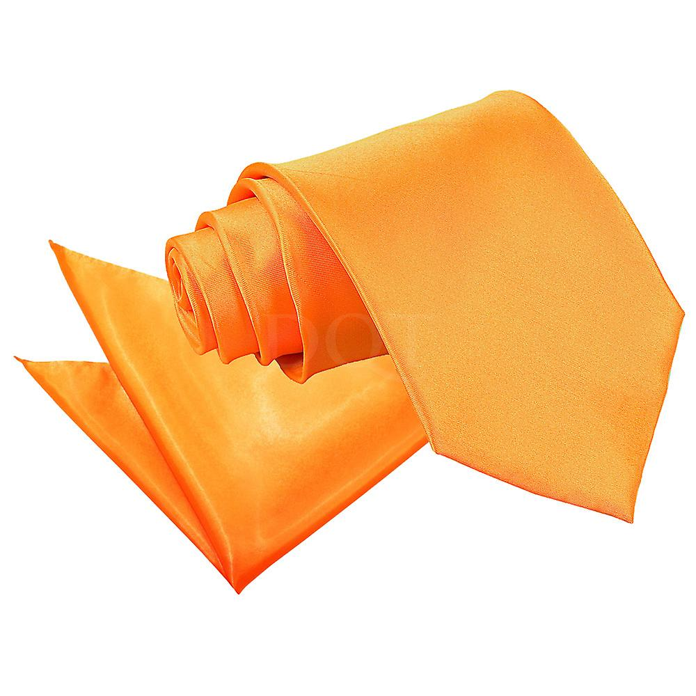Fluorescent Orange Plain Satin Tie 2 pc. Set