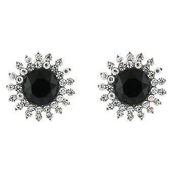 Clip On Earrings Store Jet Black and Clear Crystal Starlet Snowflake Clip On Earrings